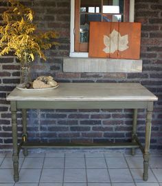 Whimsical Perspective painted sofa table - Olive & French Linen Chalk Paint(R) by Annie Sloan