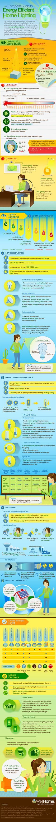 Incredible Overview - A Complete Guide to Energy Efficient Lighting for Homes. Pin this infographic to keep this information handy!