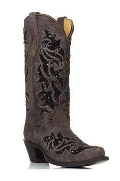 Corral Sequence Brown Women's Cowgirl Boot - HeadWest Outfitters