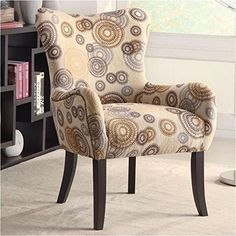 #AmericanCancerSociety This plush accent chair has nailheads on sides and back with the cappuccino legs.