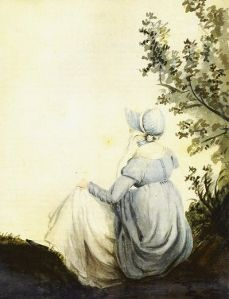 """One of the two only known portraits of Jane Austen created by her sister Cassandra. (The other portrait was much later used to create an engraving, which has become the official """"Jane Austen"""" image---and to which Jane's niece, Anna Lefroy, said was """"hideously unlike."""")  Look up the sketch and you will see that Cassandra was obviously poking fun at her sister (who looked to be in a bad mood). I think THIS is the picture that should be used."""
