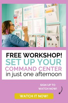 Watch this FREE on demand workshop on what exactly goes in your command center (and how to get your family to help out!) Visit The Bossy House for more ideas for getting yourself organized. Planner Organization, Storage Organization, Organization Ideas, Home Management, Organize Your Life, Make Money Blogging, Mom Blogs, Keep It Cleaner, Workshop