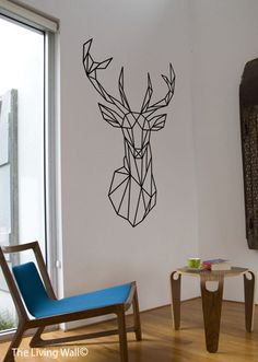 Geometric Deer Decal, Geometric Deer Wall Art Home Decor, Geometric Decor…