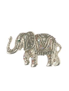 Epoxy Coated Metal Elephant Pin And Brooch
