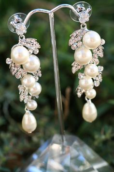 Pearl Earrings- Wedding Jewelry, Bridal Earrings, Swarovski , Lamor Swarovski crystal and pearl bridal earrings on Etsy, $59.81 AUD