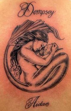 Tattoo: Mermaid mother holding baby (circular)