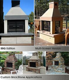 The Perfect Outdoor Fireplace - available in BBQ, see-through or screened for your perfect patio. http://www.mantelsdirect.com/mantel-blog/The-Perfect-Outdoor-Fireplace #outdoor #fireplaces #outdoor #entertaining