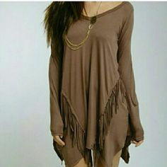 Brown Long Sleeve Tassel Fringe Tunic Dress Worn once. Super cute and very unique. Wear alone or with leggings! Soft material and perfect for spring. Size would fit a medium or large. Dresses Long Sleeve