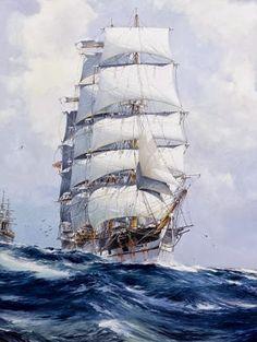 Three Masted Ships and Marine Art: Clipper Ship Moby Dick, Old Sailing Ships, Ship Paintings, Nautical Art, Ship Art, Submarines, Tall Ships, Battleship, Sailboats