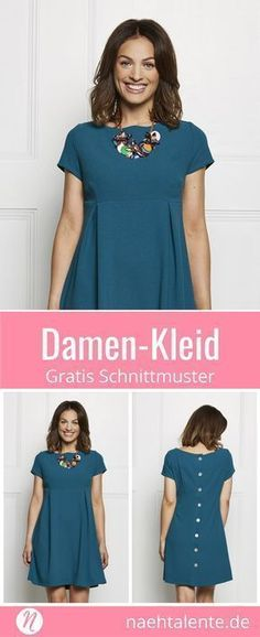Damenkleid mit Knopfleiste und kurzen Ärmeln – Freebook Free dress for ladies with Empire-line and short sleeves. Babydoll dress with style of the A decorative button placket closes the dress on the back. Elegant and smart with an unusual cut. Sewing Dress, Dress Sewing Patterns, Sewing Patterns Free, Free Sewing, Sewing Clothes, Diy Clothes, Sewing Tips, Pattern Dress, Sewing Hacks