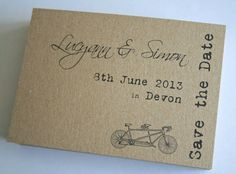 Adorable Save the Date Bicycle Postcards - perfect for a Bicycle Themed Wedding!  More inspiration on 3d-memoirs.com!  #bicycle #wedding #Etsy