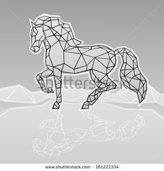 Vector image of a horse. Geometric horse – achetez cette image vectorielle sur S… – Tattoo Geometric Quilt, Geometric Drawing, Geometric Designs, Geometric Shapes, Painting Corner, Horse Sketch, Dog Tattoos, String Art, Quilling