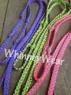 PRORIDER Roping Knotted Horse Tack Western Barrel Reins Cotton Braided Romal Lime Green 60761