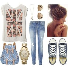 Casual summer college outfit featuring Pull & Bear Flag Top