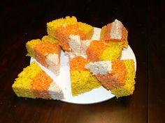 Halloween recipe:  Candy Corn Rice Crispy Treats