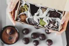 CACAO & ALMOND TRUFFLES 20 minutes | makes 24 bite-size truffles  INGREDIENTS 1 1/2 cup | 230 gr. raw almonds 1 cup | 170 gr. | medjoul dates (roughly 10), pits removed 1/4 cup | 25 gr. raw cacao powder 2 tbsp coconut oil, melted 2 tbsp chia seeds  Roll them in whichever toppings you like most, pictured above we have raw cacao powder, organic desiccated coconut, chopped almonds, chopped pistachios, cacao nibs, sesame seeds, wheatgrass powder and spirulina powder. STEP BY STEP Start by…