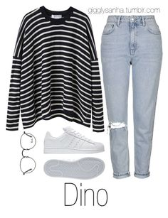 """Park Date // Dino"" by suga-infires ❤ liked on Polyvore featuring Comme Comme, Ray-Ban, Topshop and adidas"