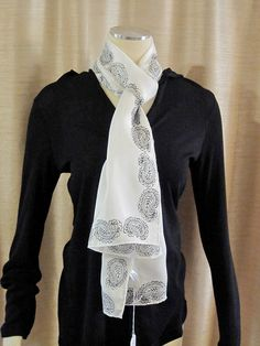 White and black pure silk hand block printed by UncommonFlair, $25.00