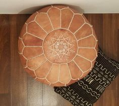 Authentic Moroccan Leather  Pouf,Handcrafted Leather Pouffe ottoman $54 (unstuffed**)