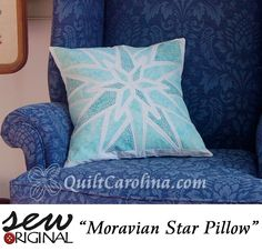 """""""Moravian Star Pillow"""" – this wonderful pattern uses fusible appliqué to recreate the Moravian star, a popular decoration in Old Salem where the Moravians originally settled! A 2017 Quilt! Carolina pattern."""