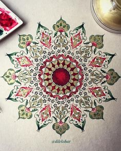 A tightly constructed and very appealing work by . Islamic Motifs, Islamic Art Pattern, Arabic Pattern, Hand Kunst, Motifs Art Nouveau, Illumination Art, Arabesque Pattern, Arabic Calligraphy Art, Iranian Art