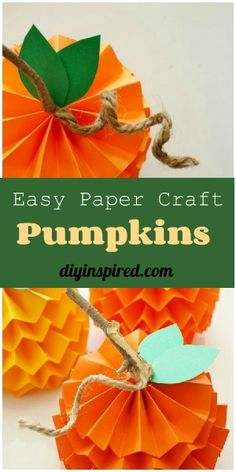 Easy Paper Craft Idea! Make these mini paper pumpkins for your Thanksgiving and fall decor.