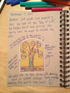 An Art Teacher's Journal. 2nd Grade line project. Swirly trees inspired by…