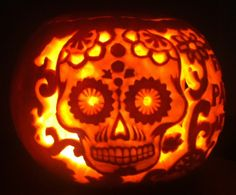 Halloween pumpkin carved with day of the dead skull and pattern Doubt if this would be easy, but it sure looks cool! Halloween Pumpkins, Halloween Crafts, Halloween Ideas, Halloween Party, Halloween Decorations, Happy Halloween, Halloween Lanterns, Halloween Foods, Halloween Displays
