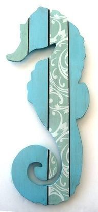 Seahorse wall hanging. Unique for beach theme room in navy blue and red
