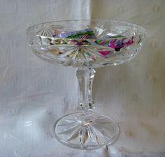 Austrian Lead Crystal Pinwheel Cut Glass by EauPleineVintage, $30.00