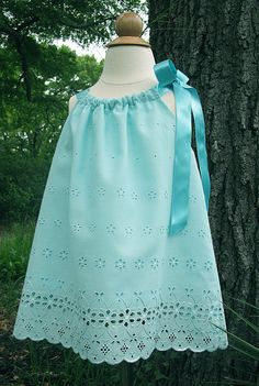 "Blakely's - ""Aqua Eyelet"" Pillowcase Dress, Shoulder Tie Topper - Pattern by Indygo Junction Little Dresses, Little Girl Dresses, Girls Dresses, Flower Girl Dresses, Flower Girls, Pillowcase Dress Pattern, Baby Dress Patterns, Pillowcase Dresses, Skirt Patterns"