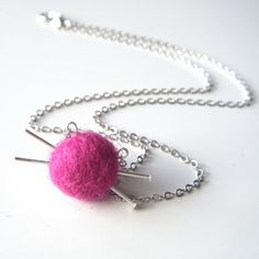 Gift for Knitters - Yarn Ball and Knitting Needles Necklace, Fuchsia Necklace, Felt Fuschia Necklace - 'Love to Knit'. €34.00, via Etsy.