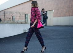 Street Style: Over 150 Wildly Stylish Looks From Paris Fashion Week--perfect example of how to mix prints