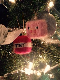 Minecraft needle felted ornaments