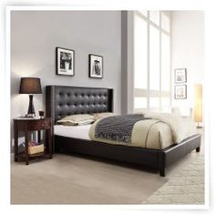 Capehart Upholstered Wingback Platform Bed - Black