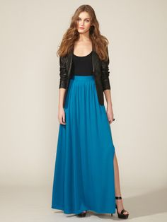 Summer must have... Maxi Skirt. In a bright bold color... If you have long legs and cant find a skirt long enough, get one and find a seamstress to add a strip of fabric along the bottom in a contrasting color and now you are color blocking!