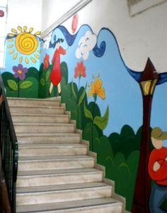 School Wall Decoration, Classroom Wall Decor, School Decorations, Art Drawings For Kids, Art For Kids, Daycare Design, Kindergarten Design, School Murals, Colorful Rangoli Designs