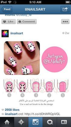 Photo by iiNailsArt(iinailsart): Panda Bear Nails, Panda Nail Art, Animal Nail Art, Panda Art, Nail Art Diy, Cool Nail Art, Diy Nails, Cute Nails, Pretty Nails