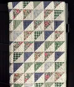 Gorgeous quilt made by @Katherine McIntire $450.00, via Etsy. Half Square Triangle Quilts Pattern, Square Quilt, Lap Quilts, Scrappy Quilts, Mini Quilts, Block Quilt, Patch Quilt, Scrappy Quilt Patterns, Vintage Quilts