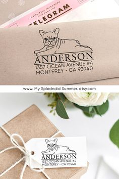 Custom Address Stamp - French Bulldog /Frenchie Return Address Stamp, Holiday Gift, Stocking Stuffer, Wedding Gift, Self Inking Rubber Stamp Custom Return Address Stamp, Great Wedding Gifts, Custom Stamps, Self Inking Stamps, Wooden Handles, Dog Gifts, Stocking Stuffers, Holiday Gifts, French Bulldog