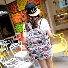 Amazon.com: Coofit Women's Fashionable Cartoon Sunflower Canvas Backpack Knapsack Rucksack (Multicolor): Sports & Outdoors
