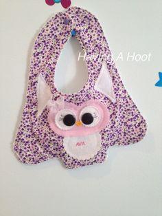 .  Personalised Hoot Bib ... Cute and very Girlie