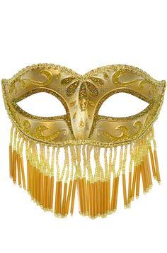 Mardi Gras Jester Gold Mask Gold Lace Black Trim Masquerade Mardigras Party