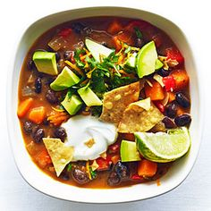 Sweet Potato and Black Bean Chili Recipe Main Dishes, Soups with olive oil, onion, garlic cloves, red bell pepper, sweet potatoes, cayenne, chile powder, chile powder, chile powder, ground cumin, ground coriander, black beans, vegetable broth, kosher salt, pepper, lime, orange, avocado