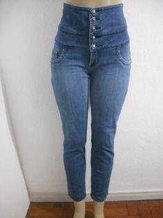 calça jeans cintura alta com strech tam 46 melhor para 42-44