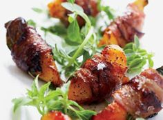 Pancetta-Wrapped Peaches with Basil & Aged Balsamic. I have had these little gems before. They are worth the work...trust me:) Delicious.