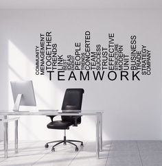 WXDUUZ Vinyl Wall Decal Teamwork Words Business Office Decor Stickers kitchen living room Vinyl Wall Sticker Home Decor Price history. Category: Home & Garden. Subcategory: Home Decor. Office Wall Graphics, Office Wall Decals, Office Mural, Office Walls, Vinyl Wall Decals, Vinyl Art, Office Artwork, Wall Decor Stickers, Wall Sticker Design