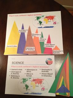 Cycle 1 - week 15 science- tallest mountains: working with 4 and 5 year olds...thought we could put triangle mountains in order of tallest to shortest