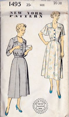 """1950s Misses Shirtwaist Day Dress Vintage Sewing Pattern New York Pattern 1495 Bust 38"""" Uncut - sleeves"""