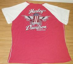 Womens Sz 1W Harley Davidson Motorcycles American Flag #1 T-Shirt Red EUC  #HarleyDavidson #GraphicTee